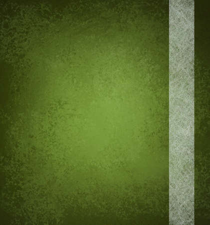 abstract green background with vintage grunge background texture and ribbon stripe design of white parchment paper on green wallpaper with blank copy space and highlight for ad or brochure