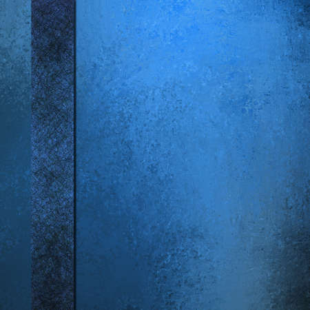 cover: old blue background elegant layout with dark black and blue ribbon stripe down border frame for book cover design or brochure or web template, has vintage grunge background texture design faded color Stock Photo