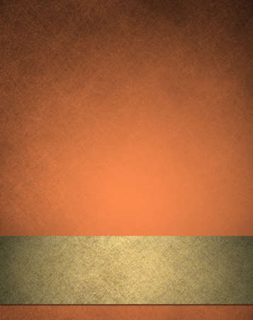 abstract orange background, gold ribbon of fancy luxurious vintage grunge background texture, elegant autumn colors for fall or Thanksgiving or Halloween  photo