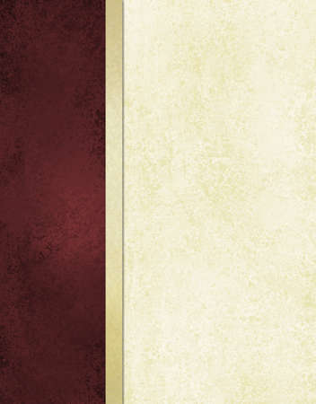 elegant book cover or journal album paper, white background with burgundy red side bar and gold ribbon stripe along border of frame, formal menu or website template, vintage grunge background texture photo