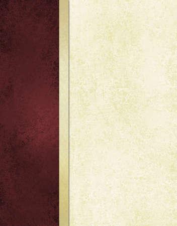 elegant book cover or journal album paper, white background with burgundy red side bar and gold ribbon stripe along border of frame, formal menu or website template, vintage grunge background texture