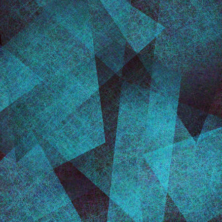 abstract blue background, elegant black old parchment grunge texture in abstract art background triangle layout design with blue paper parchment contrast layers, modern art blue background Stock Photo