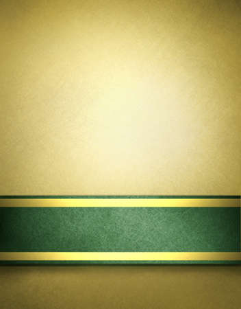 green and gold: abstract gold background with beige brown color and rich green ribbon with gold accent on elegant Christmas background template for holiday decoration brochure of blank stripe on border frame for text