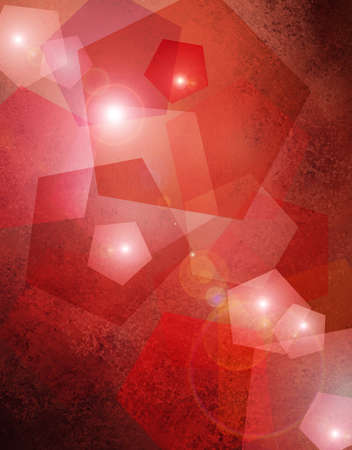 abstract red background with bokeh lights and geometric shape designs layered with star lens flare for glittery elegant Christmas background decoration for celebration or fun party card announcement photo