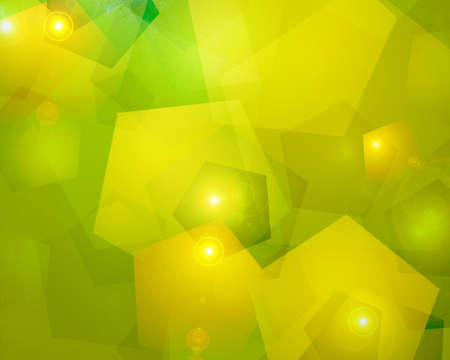 abstract yellow background green lighting of geometric shapes in abstract modern art design pattern of bokeh lights and lens flare layered for Christmas or holiday decoration background or brochure