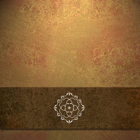 menu card: abstract brown background formal design of elegant dark brown velvet ribbon seal illustration on vintage grunge background texture color of fall autumn background for Thanksgiving menu or web brochure Stock Photo