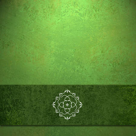 abstract green background formal design of elegant dark green velvet ribbon seal illustration on vintage grunge background texture color for Christmas card background or party menu or web brochure ad Stock Illustration - 15139302