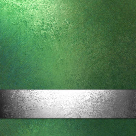 silver background: green Christmas background with elegant antique silver ribbon illustration on vintage grunge background texture design for web template or holiday brochure, old faded green paper