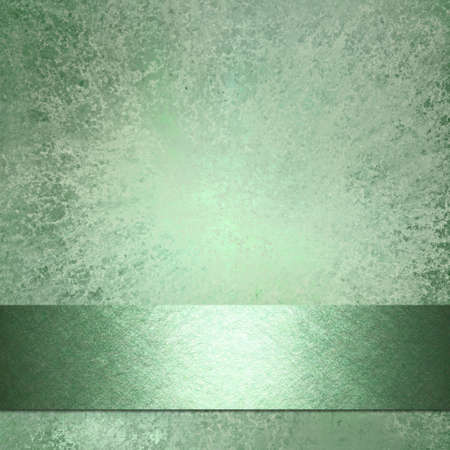soft faded abstract green background with vintage grunge background texture with darker ribbon stripe on border frame for website template or brochure ad layout design or book cover and title Stock Photo - 15139254