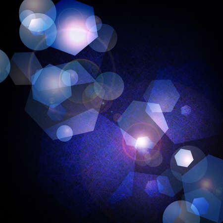 dramatic dark abstract blue background with deep black border and bright center  lens flare and hexagon geometric shapes with bokeh lights for starry night design or light reflecting  Stock Photo