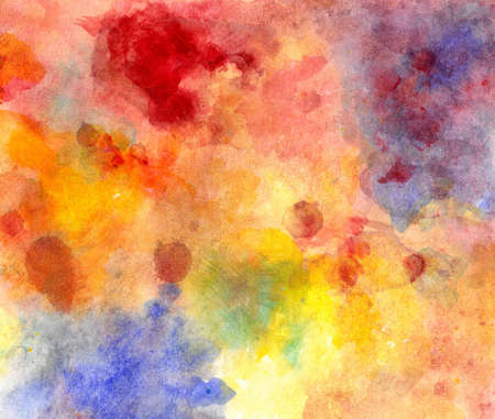 festive background: abstract watercolor background paper design of bright color splashes in yellow red warm color and blue orange gold, modern art painted canvas of old faded vintage grunge background texture atmosphere  Stock Photo