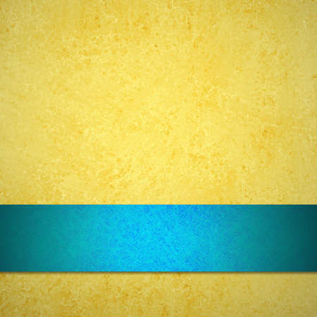 abstract yellow background or gold paper of vintage background texture with pastel light sky blue ribbon for announcement or web template background or ad brochure with blank text space for report Stock Photo - 15308316