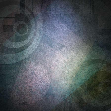 elegante abstracte achtergrond van kleurrijke vormen op blauwe achtergrond van witte cirkel doel gestreept patroon op vintage grunge achtergrond textuur en wit licht voor oude brochure met stedelijke moderne kunst Stockfoto