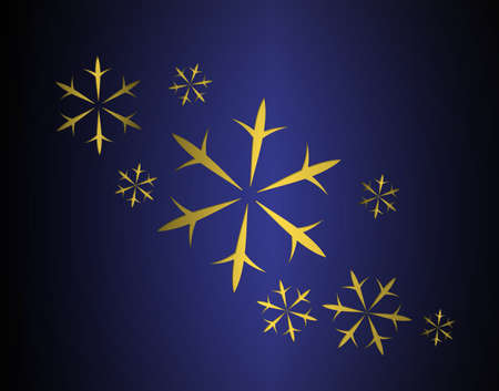 elegant Christmas background of blue and black metallic texture with gold falling snow or snowflake winter design
