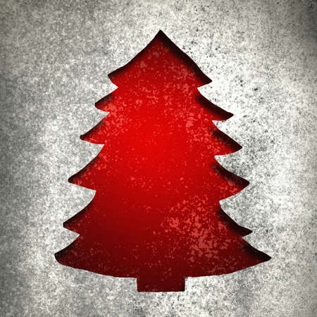 Red Christmas tree background cut out with silver metallic vintage grunge background texture