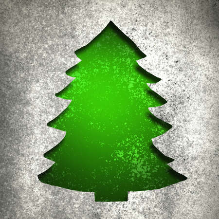Green Christmas tree cut out with silver metallic vintage grunge background texture