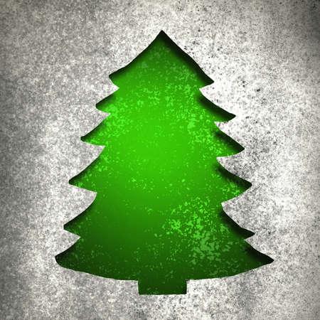 Groene kerstboom uitgesneden met zilver metallic vintage grunge achtergrond textuur Stockfoto