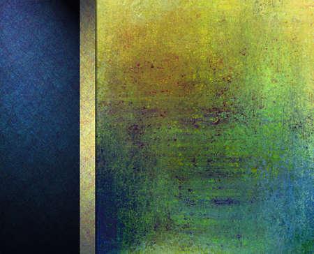 smudgy: abstract colorful background layout design, vintage grunge background texture, gold green blue background, orange red top, gold ribbon, blue black banner background side bar or banner web template