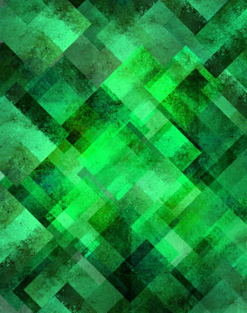 abstract green background geometric design of diamond square shapes in random pattern with glittery shiny sparkle of blurred lights in bokeh shimmer background Christmas celebration brochure template photo