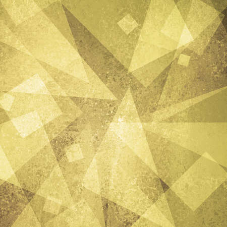 gold textured background: abstract gold background of white geometric triangle shapes and squares in random pattern with vintage grunge background texture brown on layout design for brochure or web template background yellow Stock Photo