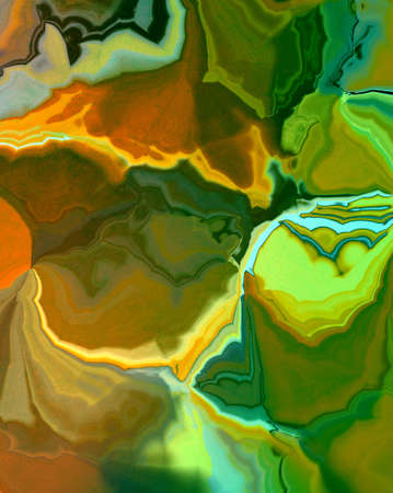 bright: abstract green background marbled design with orange gold background colors in bright colorful bright agate stone or rock illustration for side bar, banner, poster, brochure ad, or web design template Stock Photo
