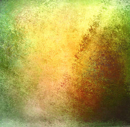 abstract green background gold center design, rough old distressed vintage grunge background texture with faded messy dirty old stains with grungy border, yellow brown background with light green Stock Photo - 17116243