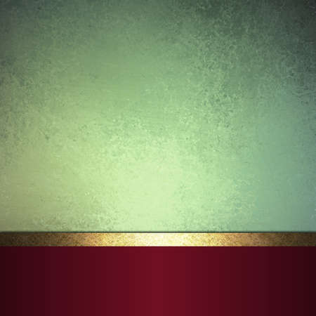 abstract Christmas background or green background design layout of elegant old vintage grunge background textured wall, blank dark burgundy red ribbon wrap on bottom frame, brochure ad or web template photo