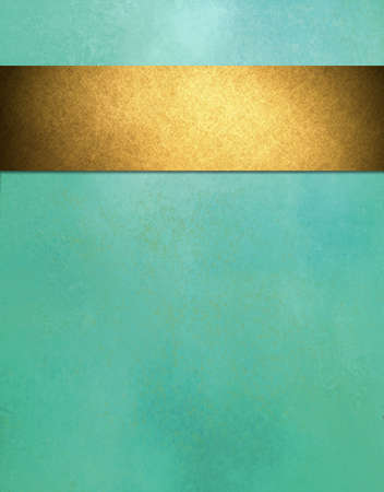 teal blue background with gold ribbon stripe photo