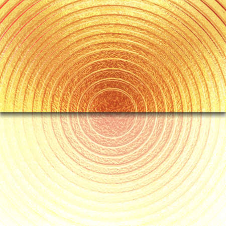 abstract gold background, metal ring layout design with metallic grunge background texture, orange center circle with envelope flap, or website banner template with faded out light bottom reflection Stock Photo - 17961019