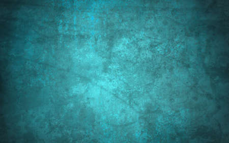 teal background: abstract blue background of old faded vintage grunge background texture, faint grungy black sponge design border, blue paper wallpaper for brochure background or web template background or book cover Stock Photo