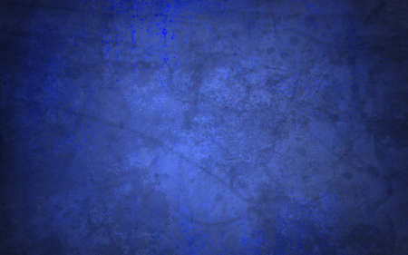abstract blue background of old faded vintage grunge background texture, faint grungy black sponge design border, blue paper wallpaper for brochure background or web template background or book cover Imagens