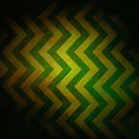 abstract chevron background zigzag pattern stripe lines in gold green background on vintage grunge background texture canvas, old worn yellow abstract background black border for web design banner Banco de Imagens
