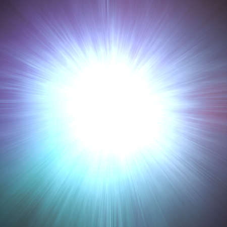 combustion: sunburst ray or zoom effect, vibrant white center spot with lens flare beam design or frame with black border, motion blur tunnel or spreading sunshine sky illustration, combustion flash Stock Photo