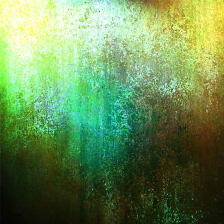 abstract green background gold corner designs, rough old distressed vintage grunge background texture with faded messy dirty old stains with grungy border, yellow brown background with light green photo