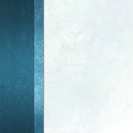 elegant formal background with light blue white background parchment paper with ribbon striped side bar border of blue color with vintage grunge background texture and copy space for brochure or menu photo