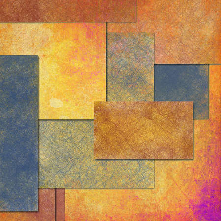 abstract gold background or blue background rectangle shape layers in web template or scrapbook layout design, old parchment vintage texture background grunge, multicolor paper, label or button space Stock Photo - 19412709