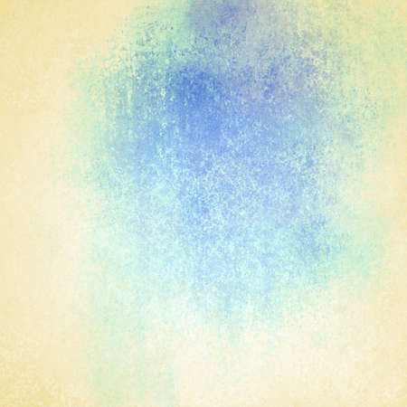 white beige background, abstract blue color splash of faded old pastel light blue color with dark center, cool for text copyspace, vintage grunge background texture design element for graphic art   photo