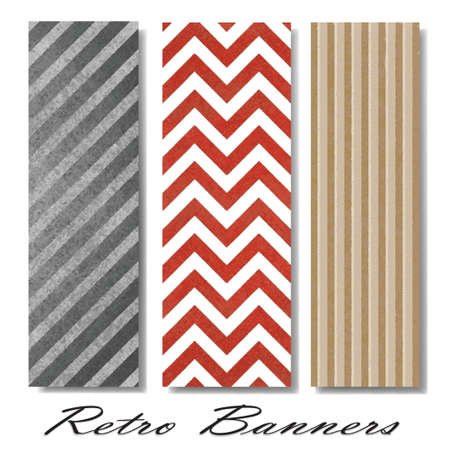 variegated: vector pattern background swatches or side bar banners for web template or brochure with vintage grunge background texture layout, zig zag pattern background, chevron retro lines, diagonal monochrome Illustration