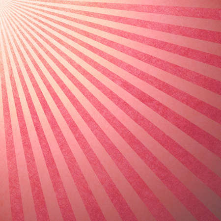 retro sunrise: striped candy cane background, Christmas or holiday colors of abstract pink background stripes, faint vintage grunge background texture retro style design pattern with sun beams streaming from corner Stock Photo