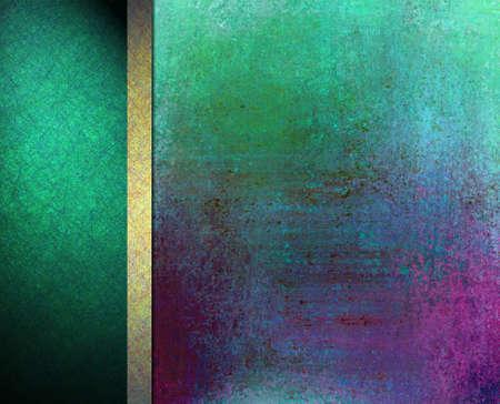 web side: abstracta de colores de fondo de dise�o de dise�o, vintage grunge textura de fondo, el oro azul verde, cinta del oro formal elegante, verde bandera barra lateral de fondo negro o plantilla web bandera Foto de archivo