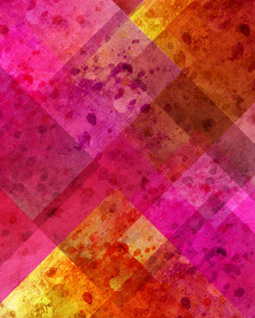 abstract pink background or yellow background with old stain spot vintage grunge background texture in plaid art background block layout design with yellow gold color accent on paper corner, colorful Stock Photo - 19896736
