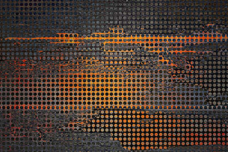 metal grid: abstract grid black background  rough distressed vintage grunge background texture pattern  gold black background  web design graphic image  brochure background  techno urban modern art style background ad