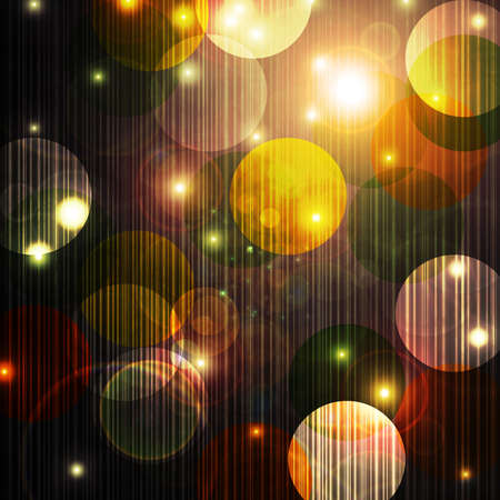 dazzle: bokeh lights background with circles or abstract Christmas ornament balls and Christmas lights on starry night with twinkling shimmering glitter in gold white yellow on dark black or brown background