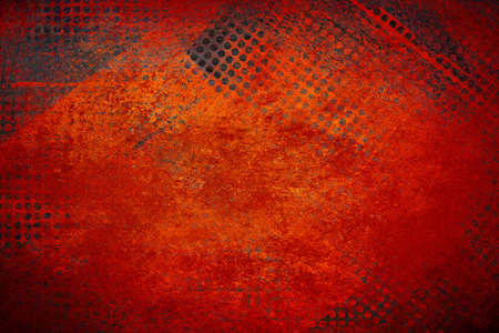 abstract red background grid mesh holes on distressed vintage grunge background texture, black graphic art design border for web banner background sidebar or app background technology or techno design photo