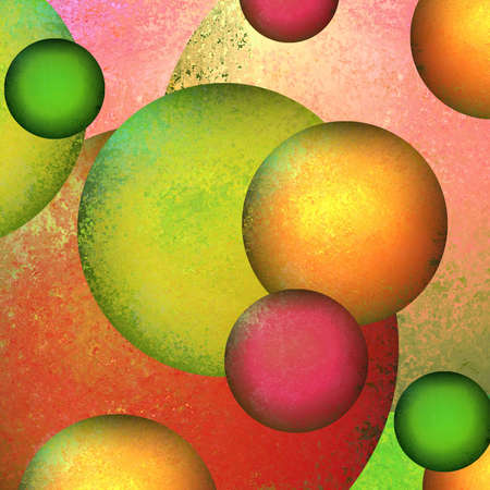 grunge layer: fun abstract background geometric circles layered in colorful bright background shape design layout, green pink background, gold red accent colors, modern art background painted canvas composition Stock Photo