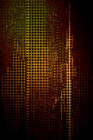bronze texture: abstract grid background, old distressed mesh with holes, graphic art image of vintage grunge background texture pattern, web background, techno design for brochure or poster, gold brown background