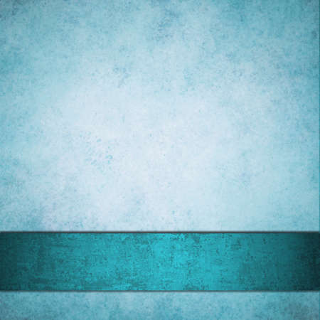 elegant white and blue background blue ribbon design layout with rich teal blue color, soft vintage grunge texture and lighting in borders, copy space frame for your title, text, or ad