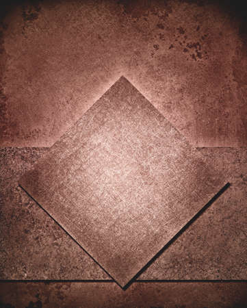 rough diamond: layered abstract brown, background layout design with diamond square and rough stripe shape layer with vintage grunge background texture, pink brown color retro paint, country western background color