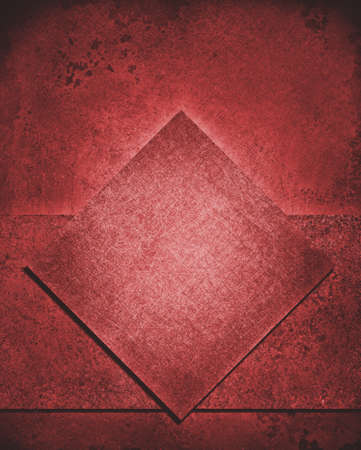 rough diamond: layered abstract red background layout design with diamond square and rough stripe shape layer with vintage grunge background texture, dull red color sponge paint, red Christmas background color