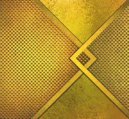 hammered: abstract gold , luxury metallic design texture of holes or grill mesh illustration, old metal , bronze brass color, hammered gold vintage grunge texture, round circles Stock Photo